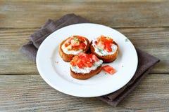 Bruschetta 3 с томатами Стоковые Изображения RF