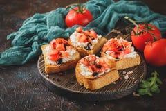 Bruschetta с томатами Стоковые Фотографии RF