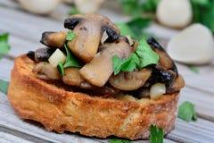 Bruschetta с чесноком и петрушкой гриба на таблице Стоковое Фото