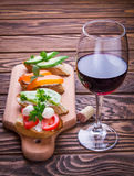 Bruschetta установило для вина Стоковое Изображение RF