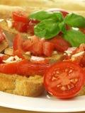 томаты вишни bruschetta стоковое фото rf