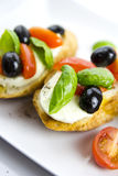 Bruschetta. Isolated over white background Royalty Free Stock Photos