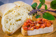 Bruschetta. Fresh bruschetta with some bread Stock Photography