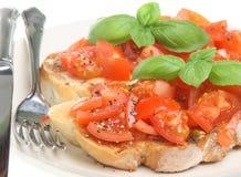 Bruschetta. Italian bruschetta with freshly ground pepper Stock Photos