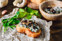 Bruschetta with Agaricus Sauce. With Fresh Greens Stock Photo