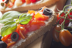 Bruschetta Appetizer Close Up Stock Photography