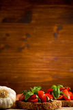 Bruschetta appetizer with fresh tomatoes Royalty Free Stock Photo