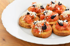 Bruschetta appetizers Stock Photos