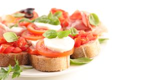 Bruschetta. Assorted bruschetta on white background Royalty Free Stock Photo