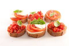Bruschetta. Assorted bruschetta on white background Royalty Free Stock Photos