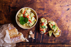 Bruschetta with avocado spread Royalty Free Stock Images