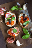Bruschetta with bacon and tomato Royalty Free Stock Image