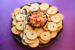 Bruschetta and bagel chips Royalty Free Stock Image