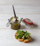 Bruschetta with beans and rocket Royalty Free Stock Photos
