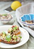 Bruschetta with beans. On the wood stock photography