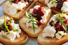 Bruschetta with beet, feta Royalty Free Stock Image