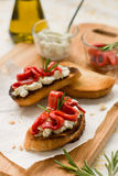 Bruschetta with bell pepper Royalty Free Stock Images