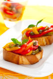 Bruschetta with bell pepper salad Stock Photos