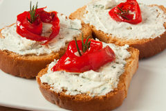 Bruschetta with blue cheese and bell pepper Stock Images