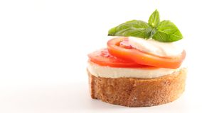 Bruschetta. With tomato, mozzarella and basil Stock Photo
