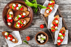 Bruschetta with caprese salad on rye baguette with seeds Stock Images