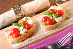 Bruschetta Caprese Stock Images