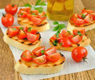 Bruschetta with Cherry Tomatoes Stock Photography