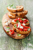 Bruschetta with chopped tomatoes Royalty Free Stock Photo