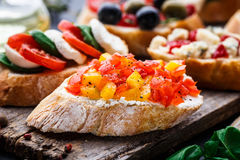 Bruschetta with chopped tomatoes, herbs and oil Stock Photography