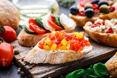 Bruschetta with chopped tomatoes, herbs and oil Royalty Free Stock Images