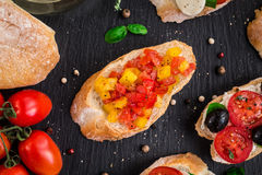Bruschetta with chopped tomatoes, herbs and oil Stock Image