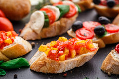 Bruschetta with chopped tomatoes, herbs and oil Stock Photo