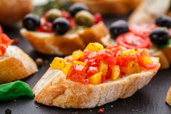 Bruschetta with chopped tomatoes, herbs and oil Royalty Free Stock Image