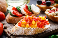 Bruschetta with chopped tomatoes, herbs and oil Stock Photos