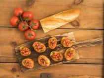 Bruschetta com baguette Imagens de Stock