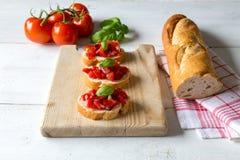 Bruschetta com tomate Fotografia de Stock