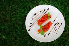 Bruschetta con i pomodori Fotografia Stock