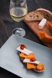 Bruschetta con la calabaza con el vino Imagen de archivo libre de regalías