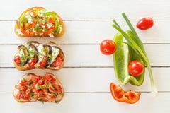 Bruschetta con los tomates y queso fresco, berenjena y mozzarella, pimienta dulce y queso de cabra en los tableros blancos Fotografía de archivo libre de regalías