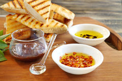 Bruschetta And Condiments Royalty Free Stock Image