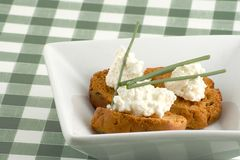 Bruschetta and cottage cheese Royalty Free Stock Photography