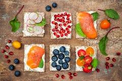 Bruschetta crostini开胃菜与各种各样的顶部混合集合 小糖醋早餐三明治品种  免版税图库摄影