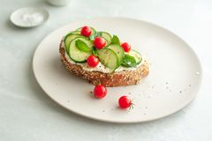 Bruschetta with cucumbers, mint and miniature tomatoes. royalty free stock images