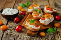 Bruschetta de la albahaca del tomate del Ricotta con los tomates y la albahaca frescos le Imágenes de archivo libres de regalías