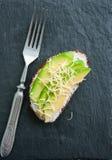 Bruschetta del pan de Rye Bocadillo del parmesano y del queso cremoso del aguacate Fotos de archivo