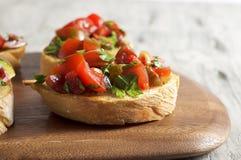 Bruschetta del tomate y del perejil Fotografía de archivo libre de regalías