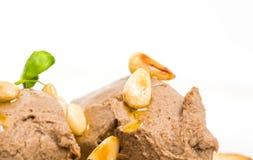 Bruschetta delicioso com pasta de fígado da galinha Imagem de Stock