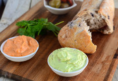 Bruschetta with dips Stock Image