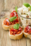 Bruschetta with Feta Cheese Royalty Free Stock Images