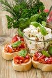 Bruschetta with Feta Cheese Stock Photos